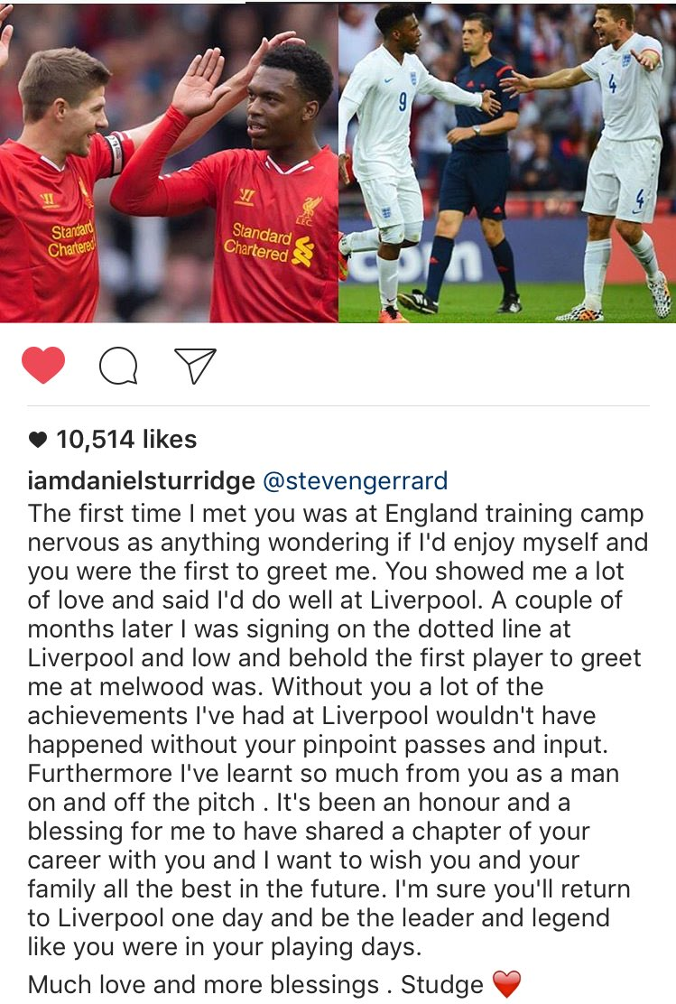 Sturridge's tribute message to Gerrard is the best I've seen today. https://t.co/9JVt1aFuAP