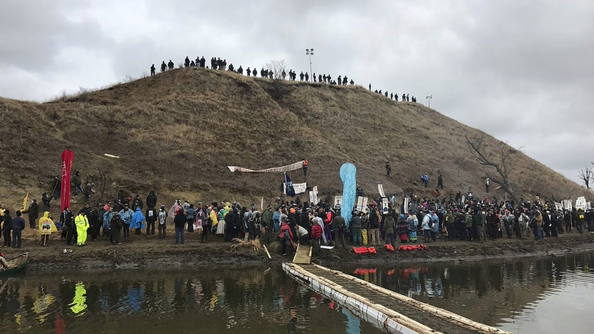 Anti-pipeline protesters demonstrate in North Dakota on Thanksgiving Day