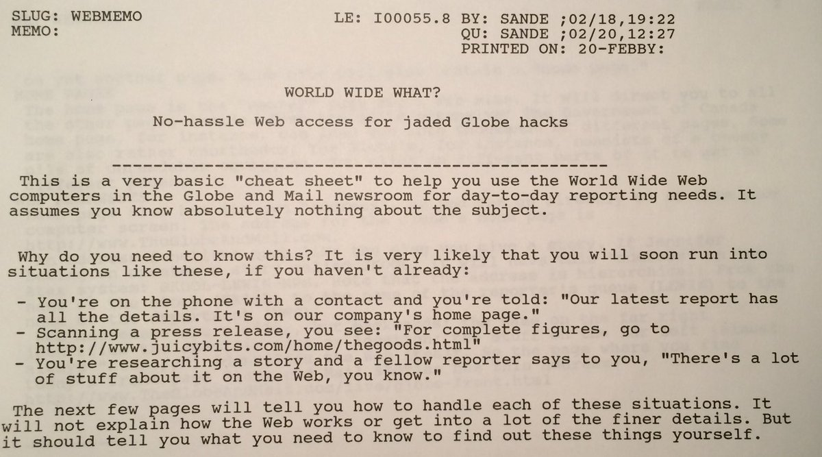 In February, 1996 I wrote a memo telling my fellow reporters how to use a new technology. A colleague cleaning out his desk just found it