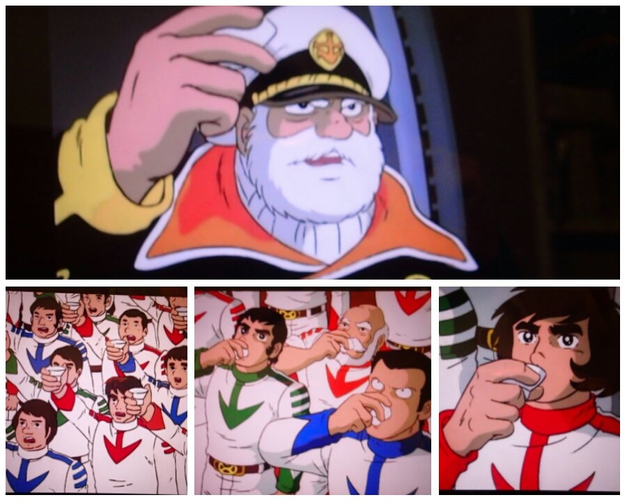 いま矢口さんがヤシオリ作戦の「特殊建機小隊」と民間の協力者のみなさんに訓示してると思うけど、この七色星団前の水杯シーンが