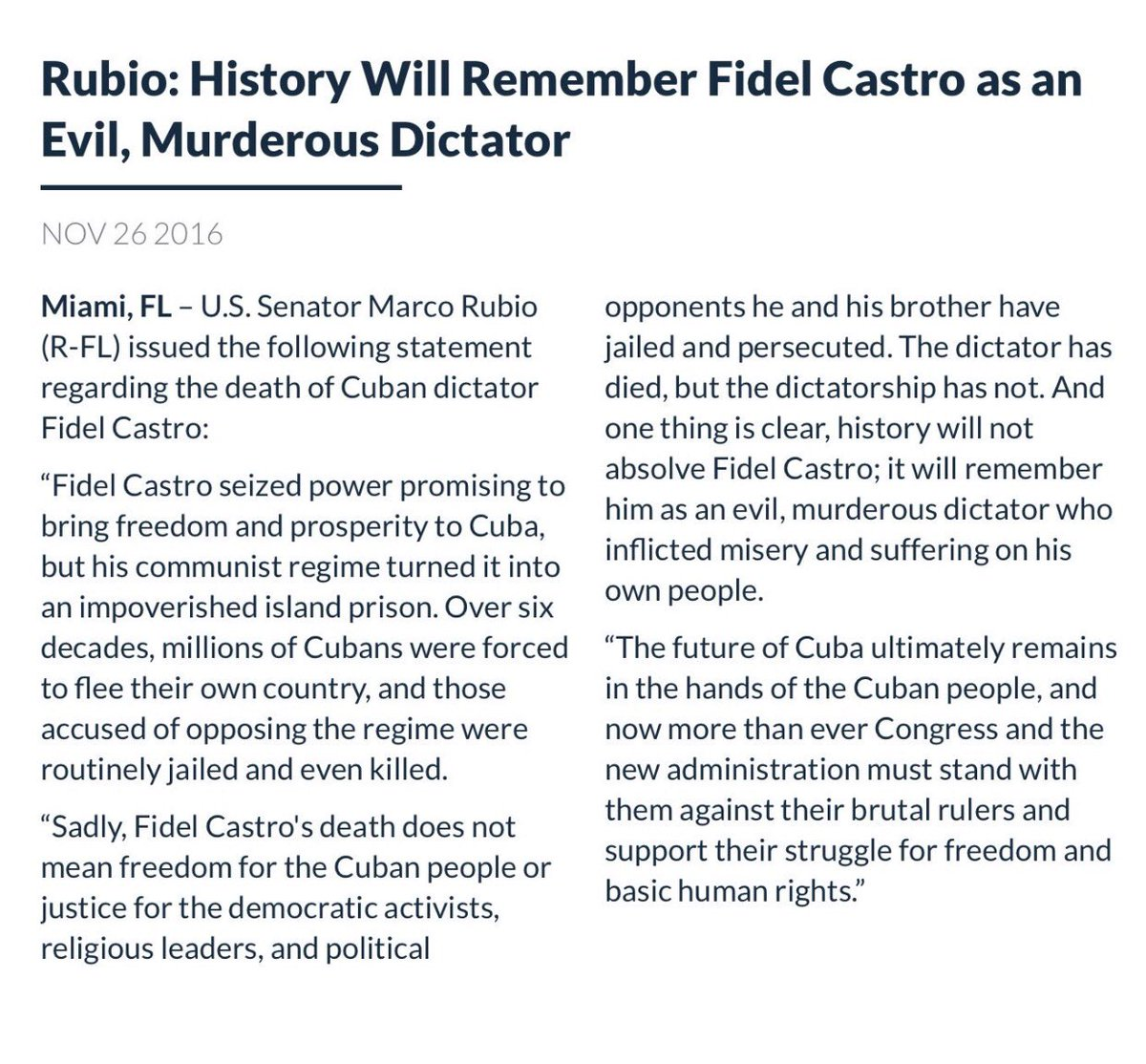 History will remember Fidel Castro as an evil, murderous dictator who inflicted misery & suffering on his own people https://t.co/Y7207S6qVD