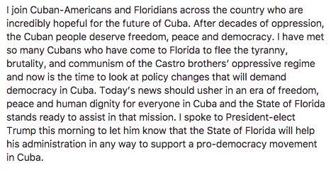 My statement on the death of Fidel Castro: https://t.co/0EVZKhz1jC