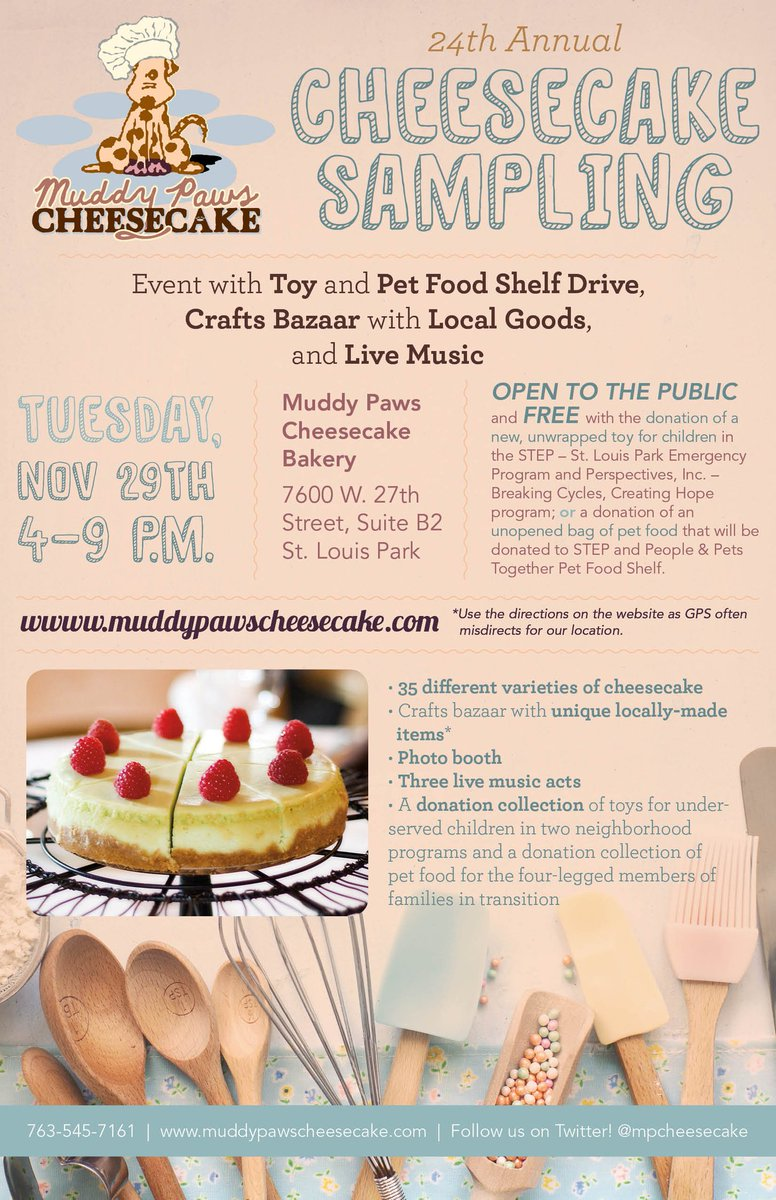 Time to make the @MPCheesecake :) See you Tuesday!! #cheesecakesampling https://t.co/3EopHQhKPs