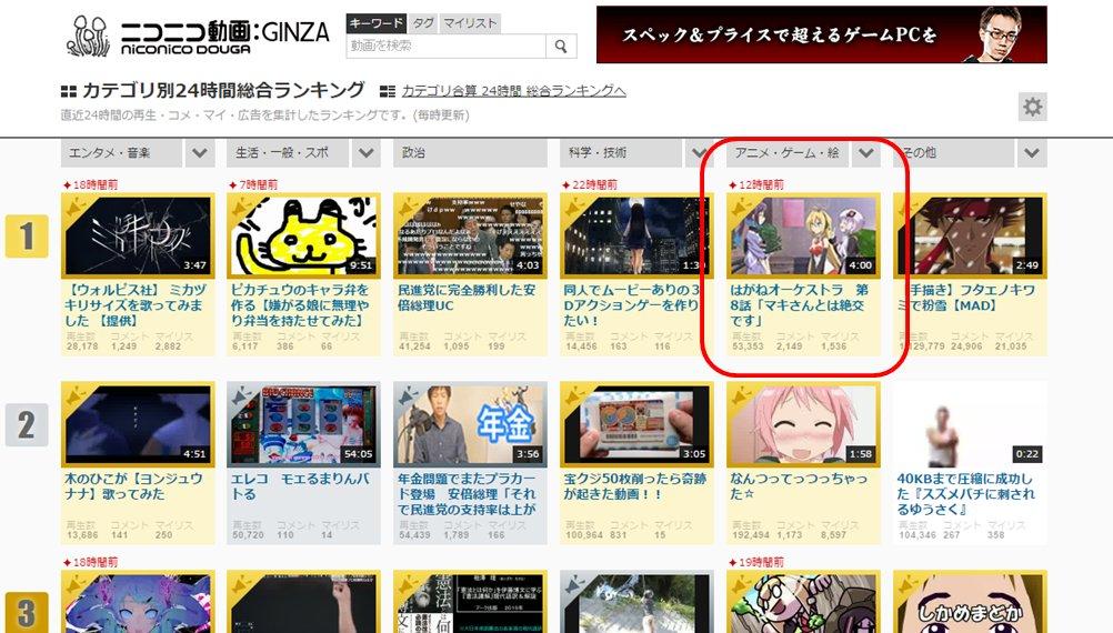 【感謝】アニメはがねオーケストラ 第8話「マキさんとは絶好です」がniconico動画カテゴリ別ランキングで1位をいただ