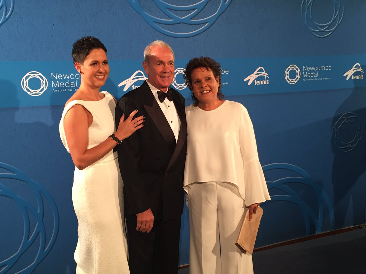 Evonne goolagong cawley arrives with husband roger & daughter