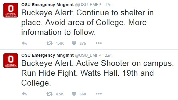 DEVELOPING: There are reports of an active shooter on campus at Ohio State University. A tweet sent out calls for people to shelter in place
