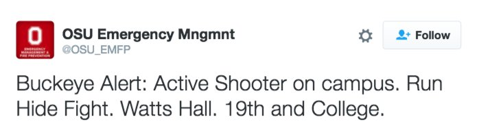 DEVELOPING: Ohio State University sends out alert about active shooter on campus
