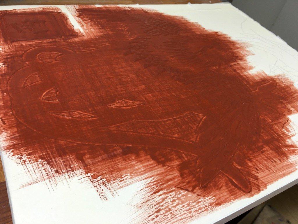 箔下とのこ塗り完了!ちょっと前にホルベインさんから頂いたボーロが良い感じ!ありがとうございます!みんな石膏ボーイズを応援