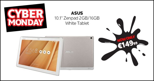 "Get the Asus 10.1"" Zenpad for just €149.99 this #CyberMonday & FREE delivery! Only at DID;https://t.co/TZXqyoypYn https://t.co/SieEtv5tJl"