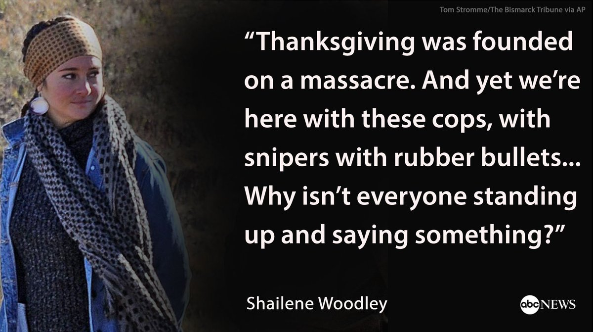 Shailene Woodley joins Dakota pipeline protesters on Thanksgiving