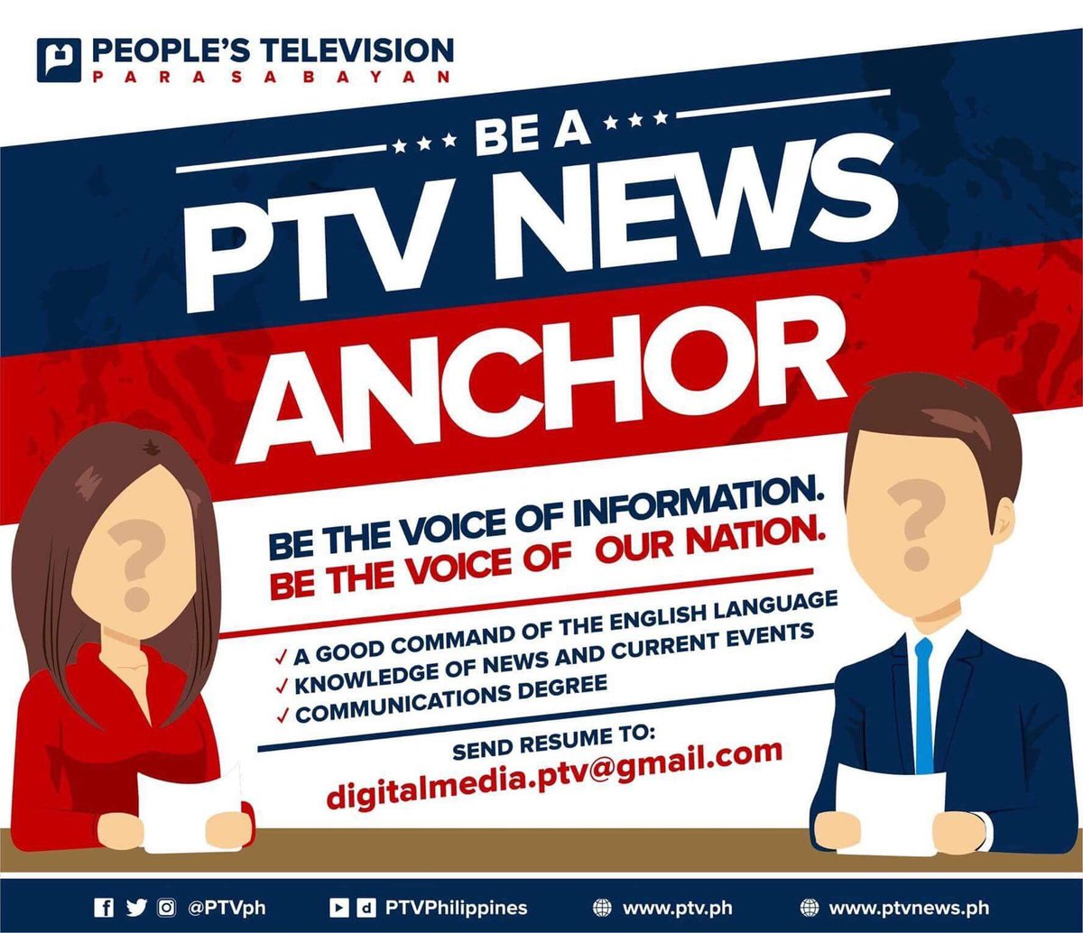 Join us: be the next ptv news anchor. send your resume to ...