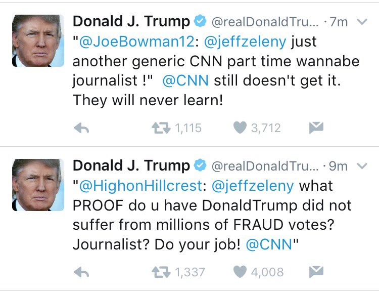 President-elect Trump is blaming @jeffzeleny for Trump's own failure to back up his repeated lies about voter fraud.
