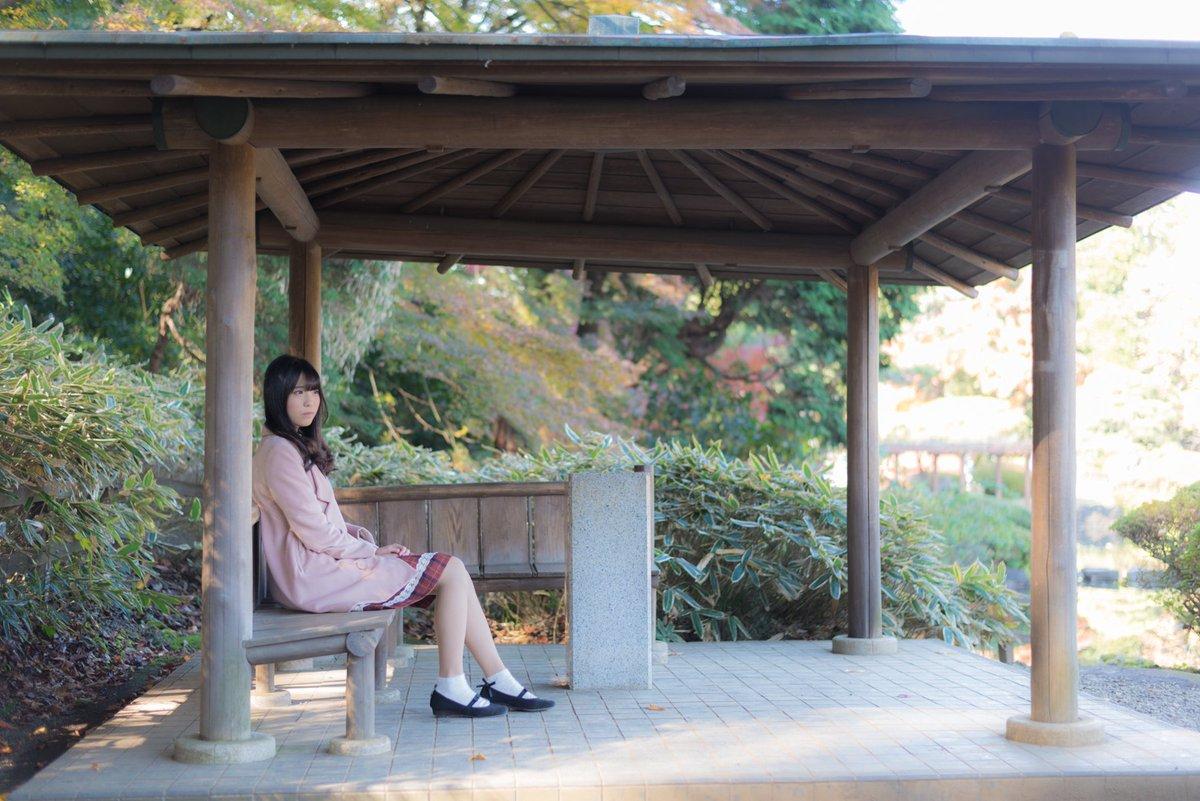 【#ポトレ】夢華()さんです♡#言の葉の庭 #新海誠 #紅葉 #黄葉 #新宿 #ポートレート #portrait #かめ