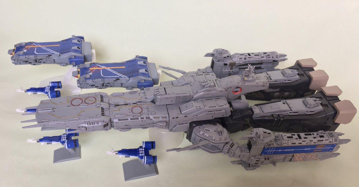 駆逐艦、アームド空母とも、1/3000とやまとのマクロス(いつ書いてもややこしいよなこれ)にサイズを合わせたので…