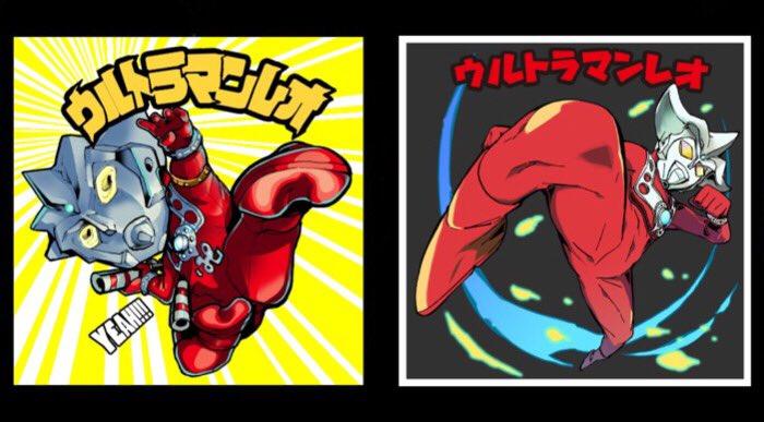 ウルトラマンレオシールのイラストは、右「福田宏」先生。週刊少年サンデーにて『常住戦陣!!ムシブギョー』を連載中。左「一文