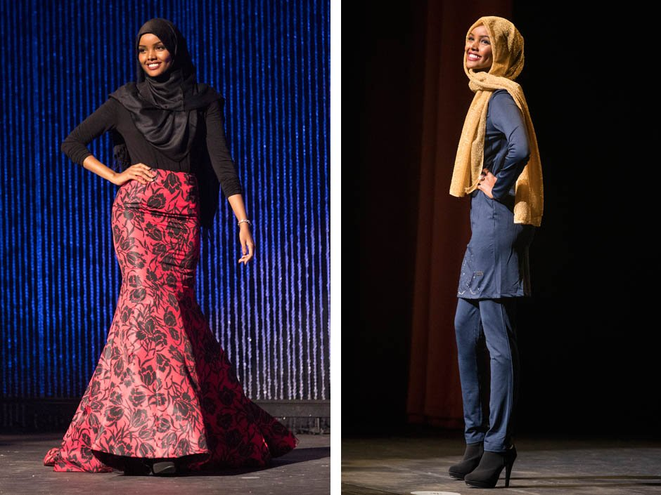 Muslim woman sports burkini and a hijab with her gown at the Miss Minnesota USA pageant