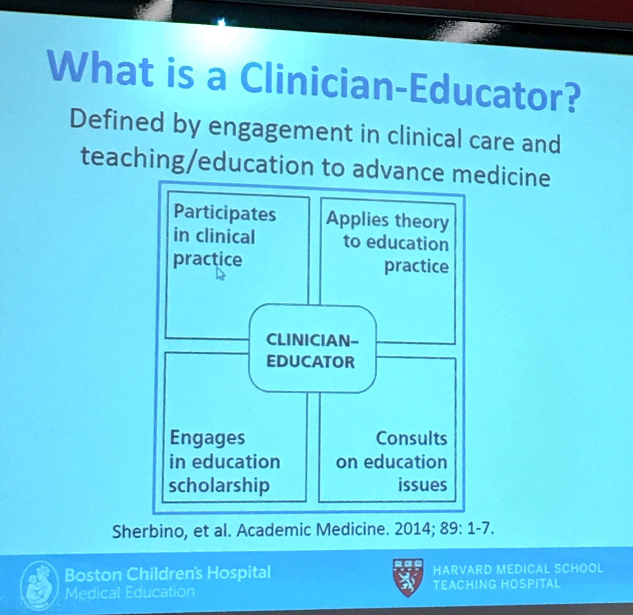 Wondering what is Clinician Educator? Learning this from Alan Leichtener @HarvardMedEd #hmieducators https://t.co/OsUwz5NdML