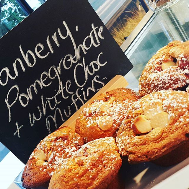 Wednesday 30 November, 7:20 a.m. - #muffinoftheday #cranberry #pomegranate #whitechocolate #getinmabelly