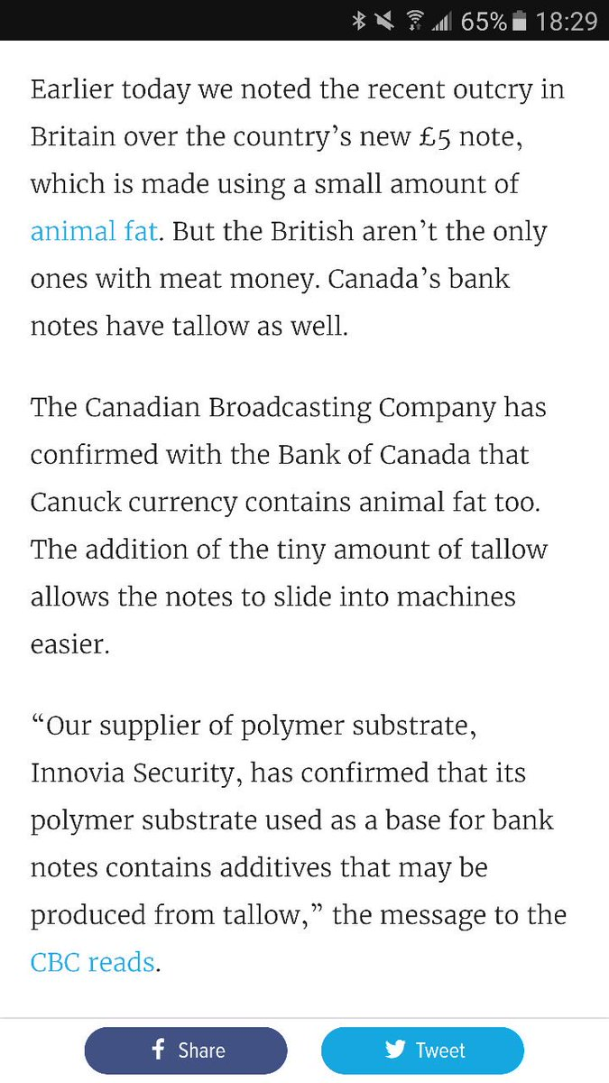 @maddyjacksonn Did you know Canadian Money is made from Animal Meat? https://t.co/bxSteVuT7C