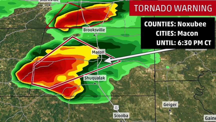 Map A Storm Over Noxubee County Miss With A Confirmed Tornado North Of Preston Moving Northeast Weather Channel