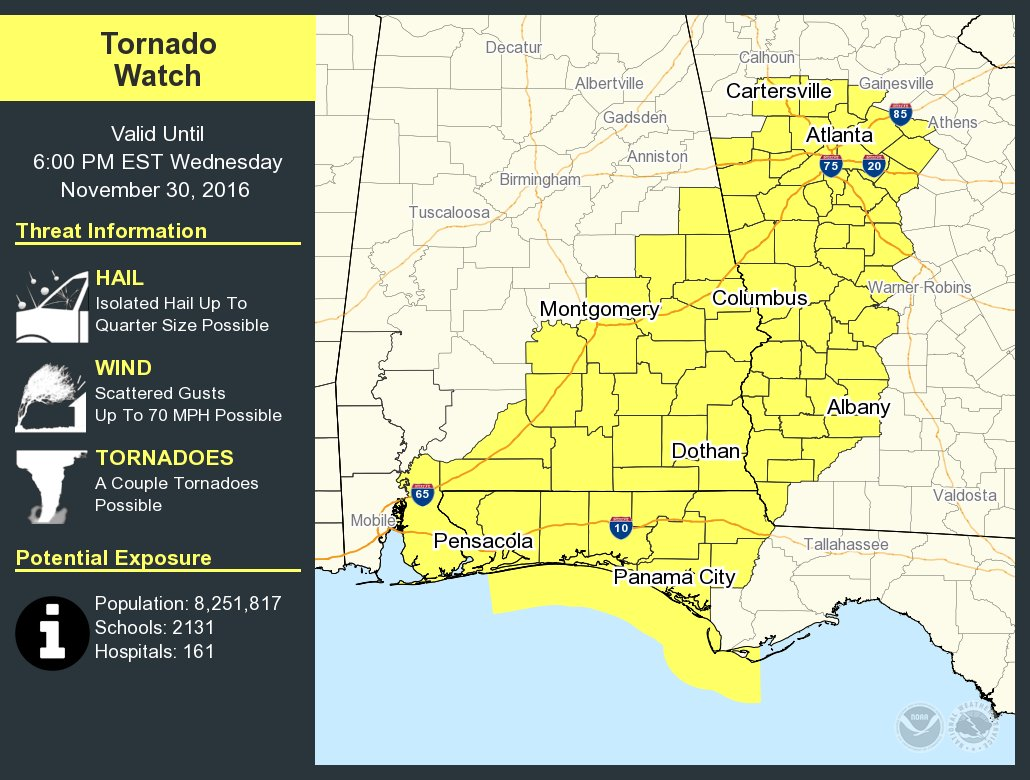 Map Areas In Yellow Are Under A Tornado Watch Until 6 Pm Et Atnwstornado