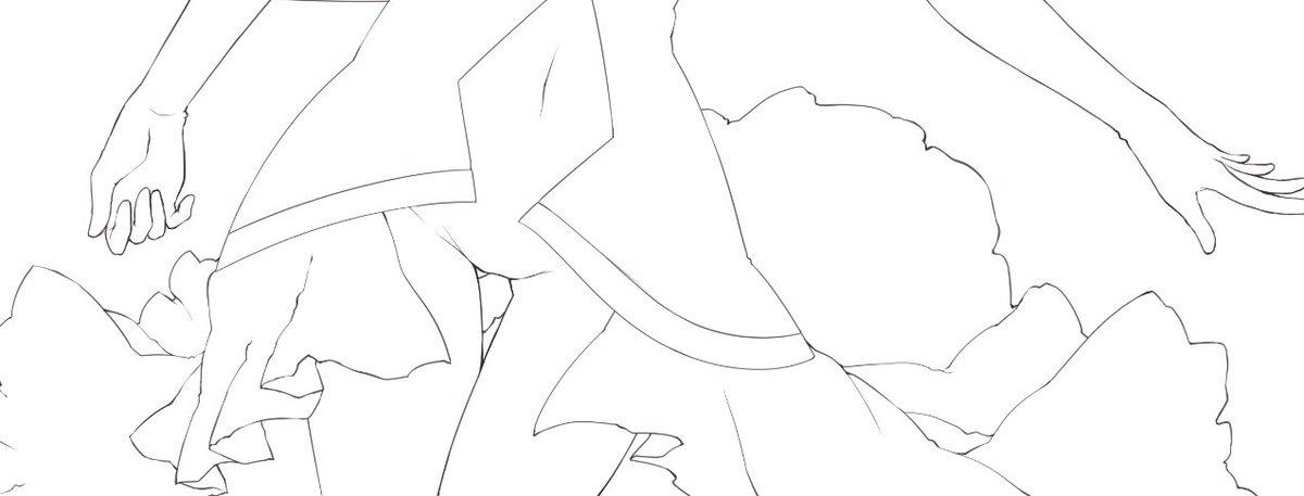 そして途中線画チラ見せ。映えるようにスカート部分を盛大にブワァっとさせました。剣もがんばって描くから出せたら是非お手に
