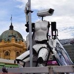 UK artist's pole-dancing CCTV robot takes surveillance state statement to streets of Melbourne