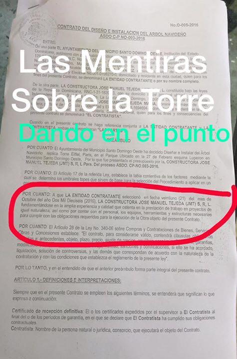 Sale a la luz pública supuesto contrato donde se revela el monto real de la #TorreEiffel en SDO. https://t.co/luVZl9ElSr