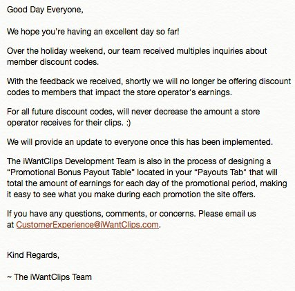 Hello Everyone! See our note in regards to member discount codes.  Thank you! 🎄#iWantClips https://t