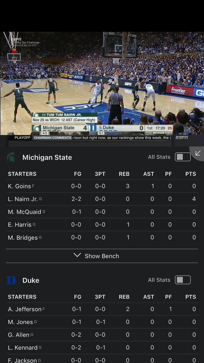 ESPN App 5.4. See box scores for games u r watching. Other scores. News. Commentary. While streaming. In portrait. https://t.co/XYh7WdUkCs