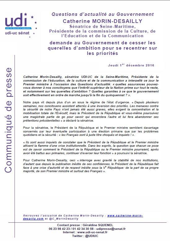 Communiqué suite à l'intervention de @C_MorinDesailly lors des #QAG