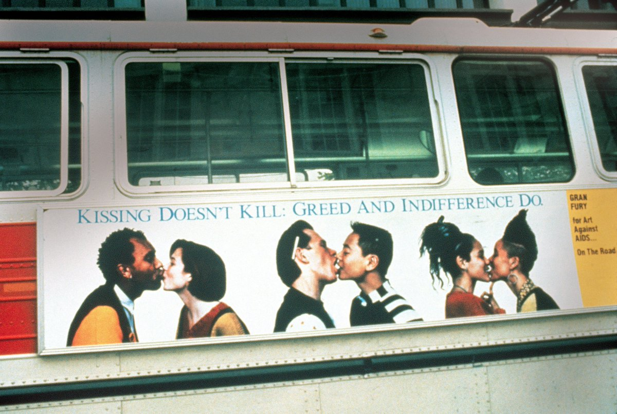 """""""Kissing Doesn't Kill: Greed and Indifference Do"""" by Gran Fury, 1989. As true today as it was then. #WorldAIDSDay https://t.co/N5nTyN2hvT"""
