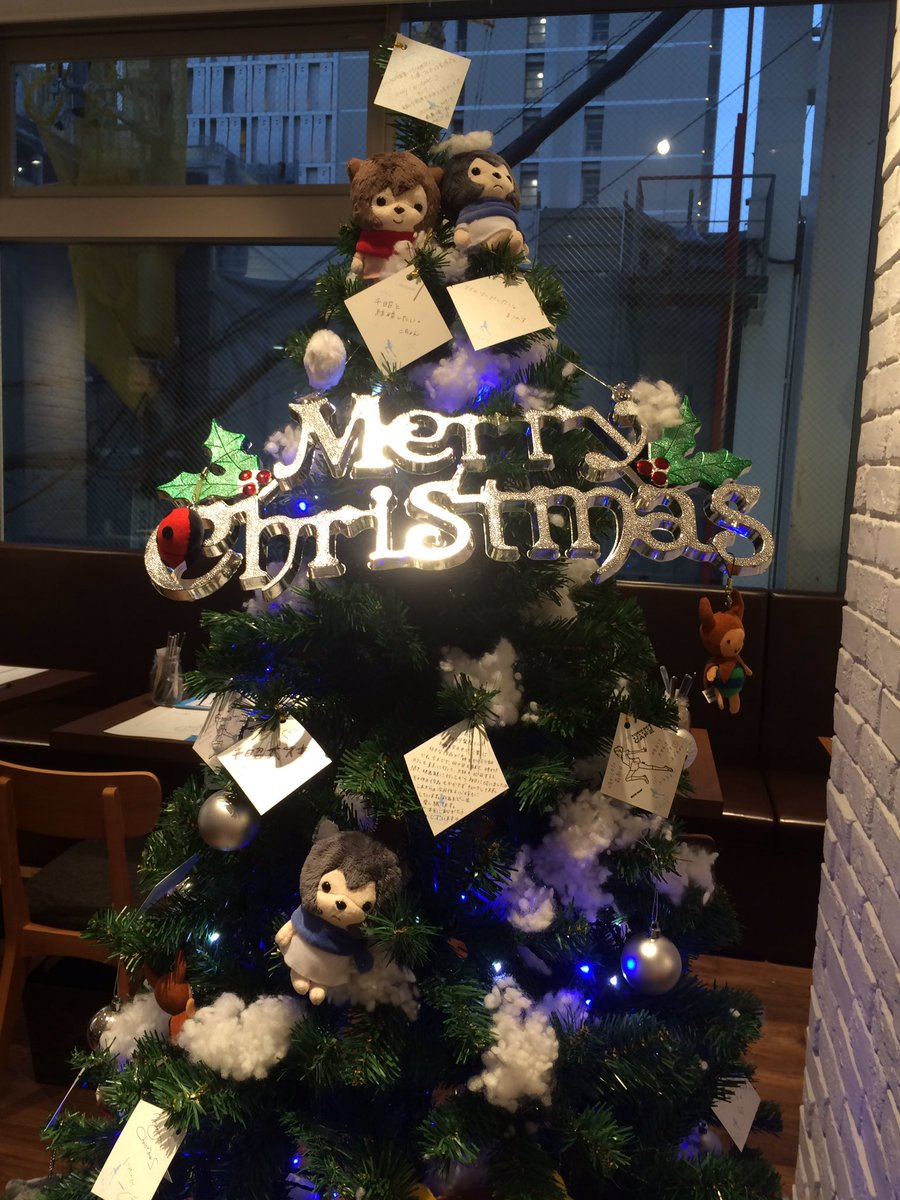 時をかける少女カフェ☆店内には12月よりツリーを置きました!限定メッセージカードに書いてツリーに飾ってみませんか?既にた