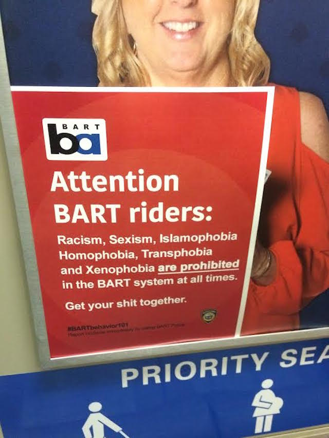 Unofficial BART Notice Calls Out Racism, Etc., Tells Riders To 'Get Your S**t Together' https://t.co/jMQR04RYMP https://t.co/9v0S2vfhDY