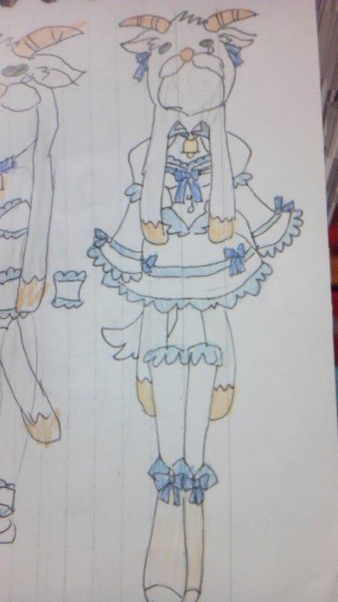 ダンボール戦機のメェメェの派生衣装  #女神のドレスデザインで再現して欲しい衣装 #女神のドレスデザイン #メガドレイン
