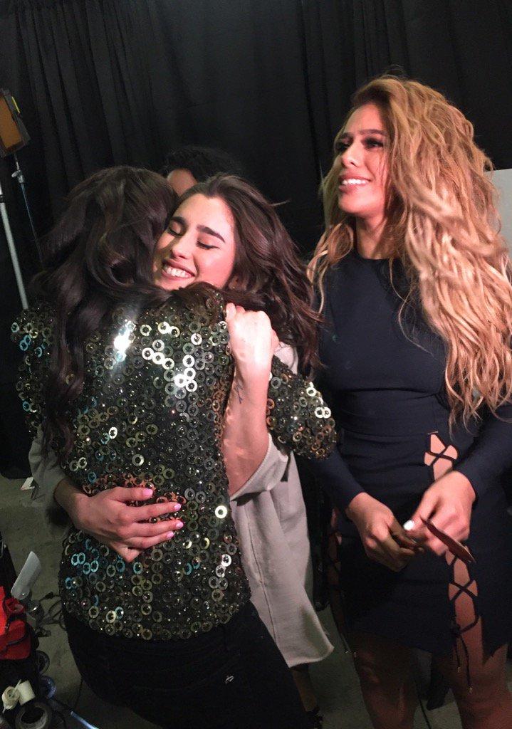 Hugs with my girlies @FifthHarmony right before they take the @1027KIISFM #KIISJingleBall stage