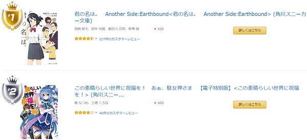 2016年Amazon年間kindleランキングが発表! 1位:君の名は。Another Side:Earthbound