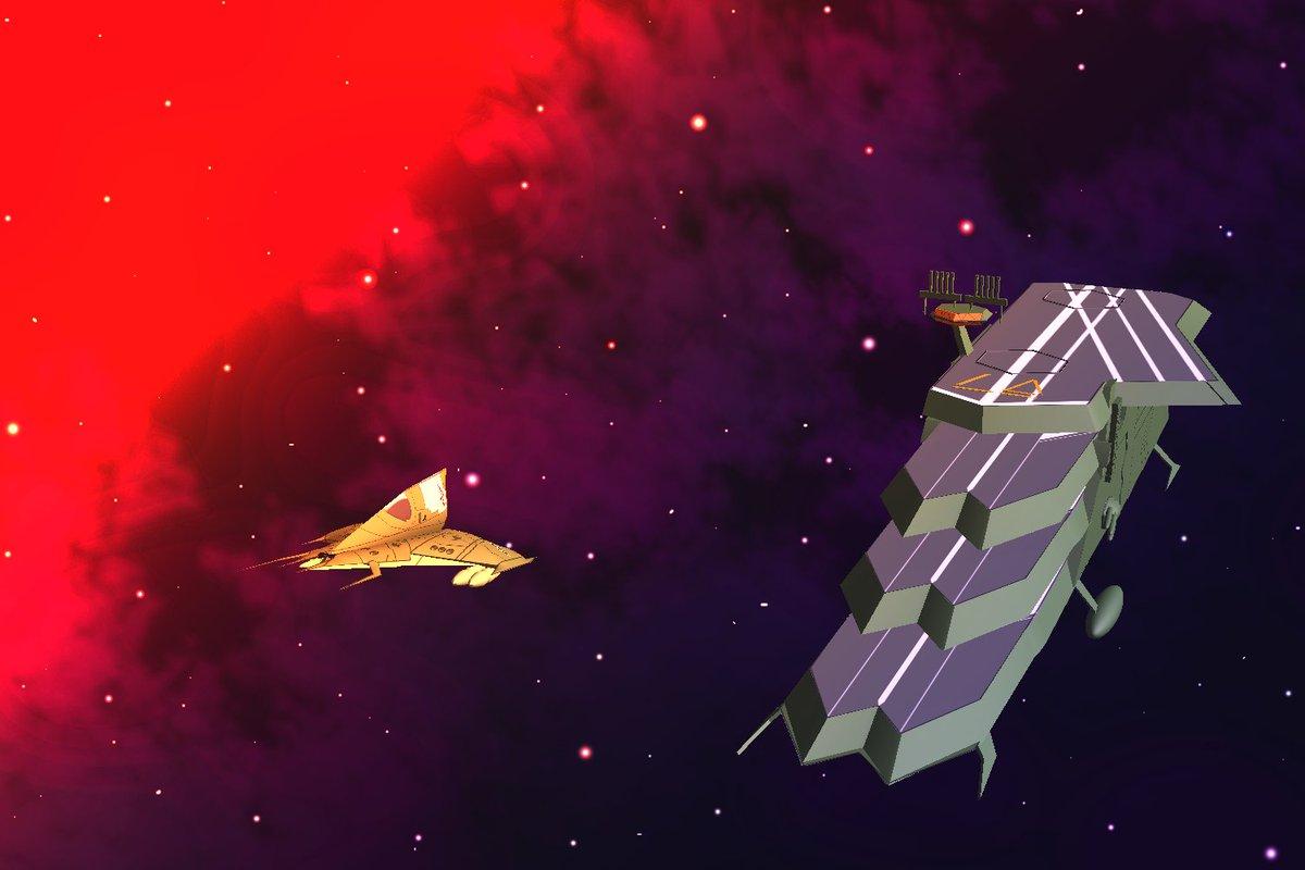 クソしょぼいけど、バルグレイっぽい空母と、デバッケっぽい戦闘機を、Photoshopの3Dで作った(*^^*)問題は、同