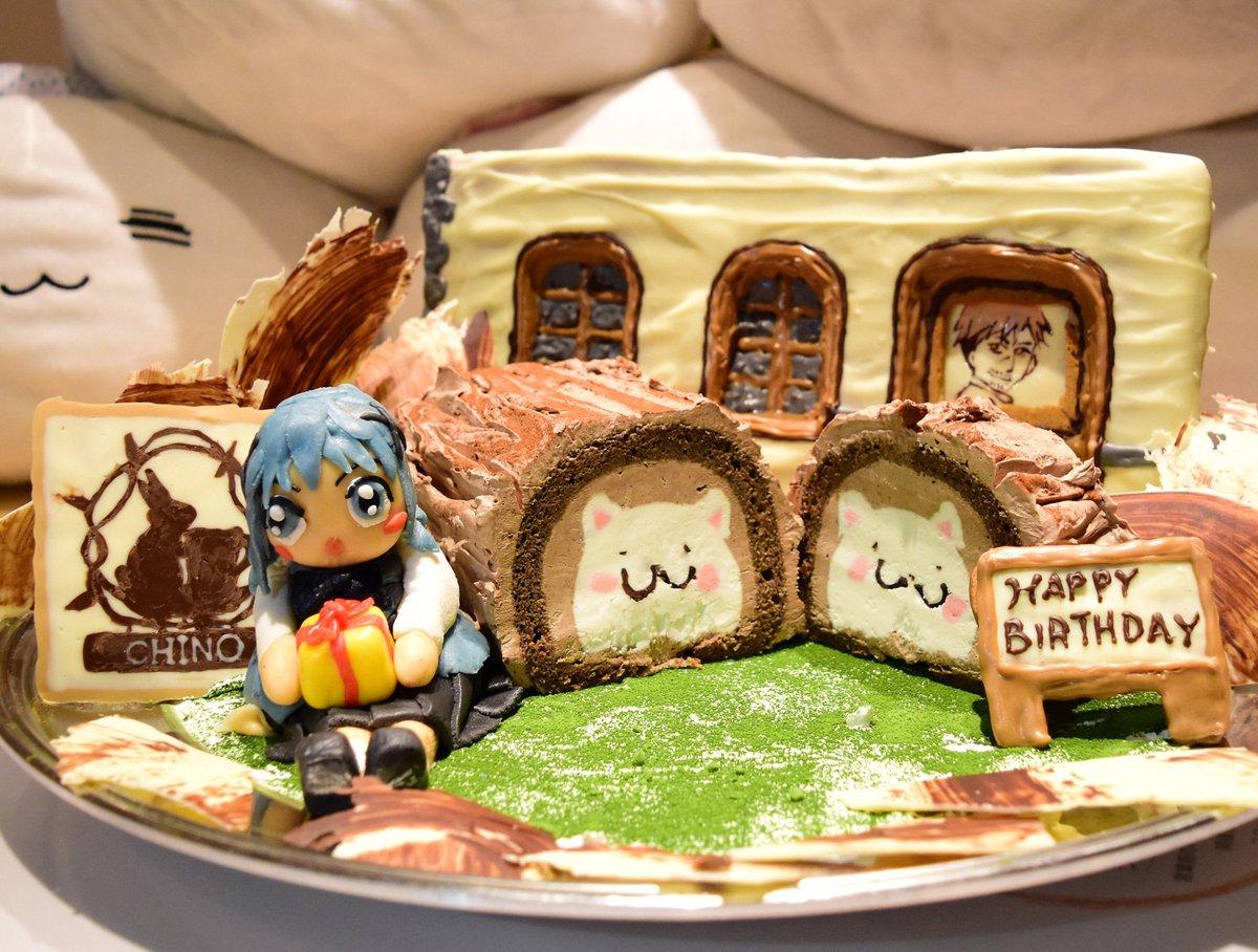 チノの誕生日をさらに特製ケーキでお祝いします!名付けてブッシュ・ド・ノエルならぬブッシュ・ド・ティッピー?ケーキの断面を