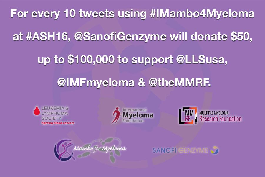 For every 10 tweets using #IMambo4Myeloma at #ASH16, we will donate $50 to support @LLSusa, @IMFmyeloma, & @theMMRF https://t.co/Aym54Wk3DB