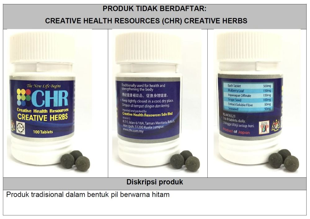 Stop using CHR creative herbs, says Health Ministry