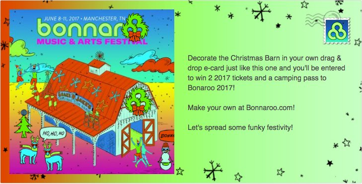 Decorate your own Christmas Barn e-card and you could tickets to #Bonnaroo!  https://t.co/tkXf3fOdjw https://t.co/RNAA4KUCAX