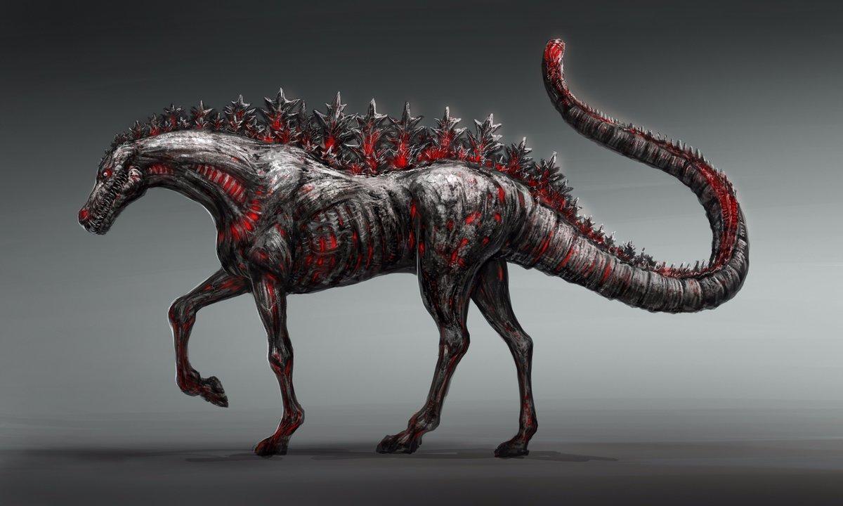 シン・ゴジラって劇中で色んな生態系の進化の可能性が云々とかあったので、こういう進化もあったのかも、という感じで。 ウマ・ゴジラ。 https://t.co/yQXLmNx1uX