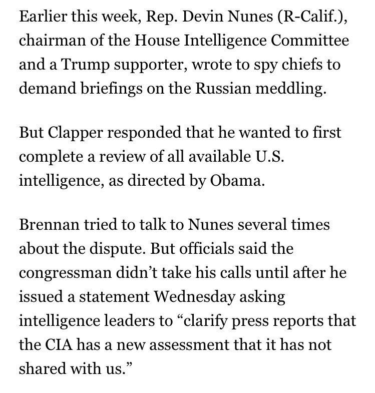 The chair of the House intel committee has been dodging calls from the CIA director about Russia's hacking https://t.co/ePXktcHj5I