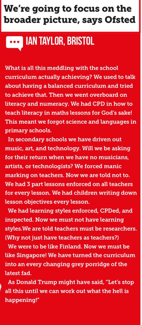OfSTED are going to focus on the bigger picture. This wonderful comment in Schools Week sums up education in England https://t.co/xQ9jUrRuxz