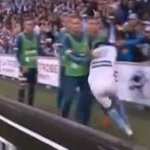 Watch Tim Cahill TAKE OUT rival substitute with erratic derby goal celebration after injuring himself scoring