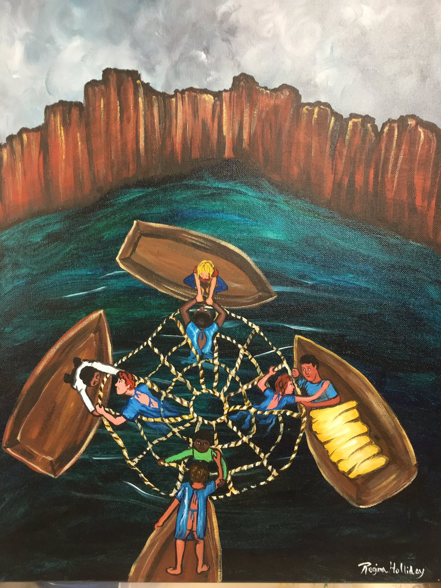 """""""We are all in the same boat"""" a painting for @patientslikeme https://t.co/TVPHIsKm9D"""