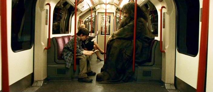 From the deleted scene of the Sorcerer's Stone: Rubeus Hagrid and Harry Potter in a muggle train. Huge Hagrid! https://t.co/GAujHRNZMw