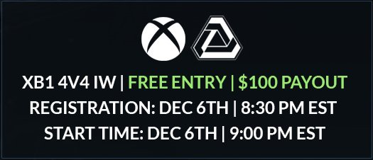 XB1 4v4 IW - #FREE Entry $100 #Payout Registration is Open  Tournament Starts in 10 minutes https://t.co/rTFVcYxip6