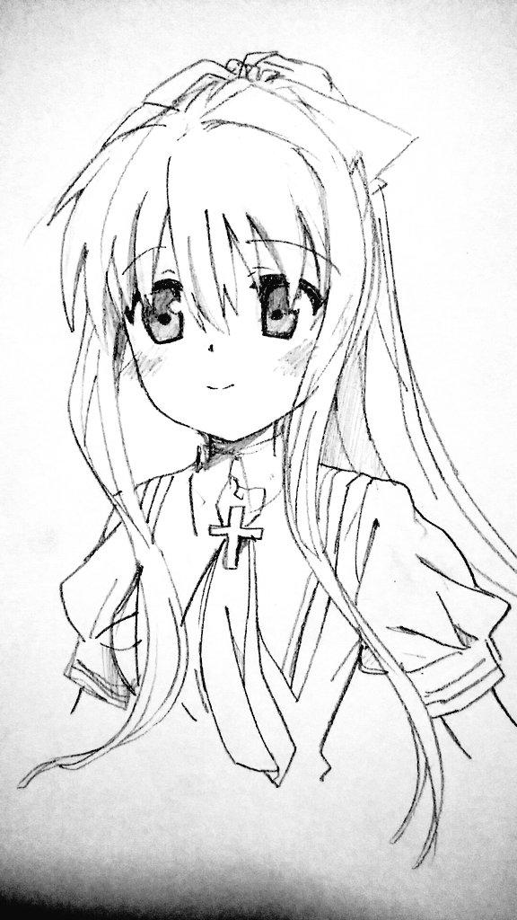 観鈴ちんをRewriteのアニメ絵っぽく描いて遊びました〜